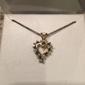 Jewelry - 18kt Gold Sterling Sapphire Diamond Heart Necklace